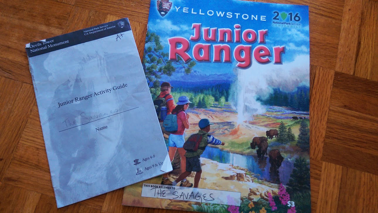 Junior Ranger Booklets from Devils Tower and Yellowstone